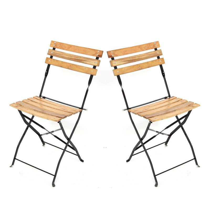 Lote 2 sillas de jard n plegables en madera m96 lote 2 for Sillas plegables jardin
