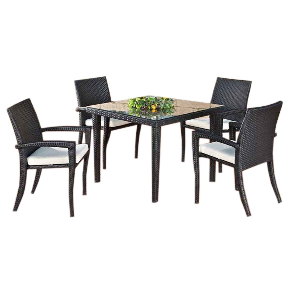 Conjunto de jard n bari mesa 90x90cm 4 sillas negro for Conjunto muebles jardin oferta