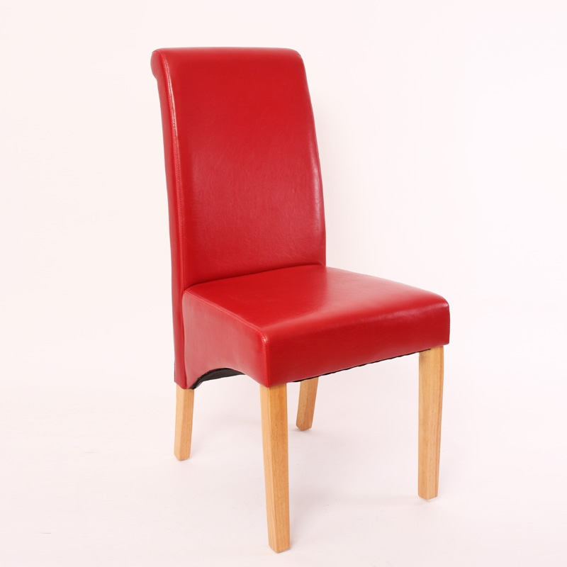 Lote 2 sillas de comedor m37 en polipiel roja y madera for Sillas de piel para comedor