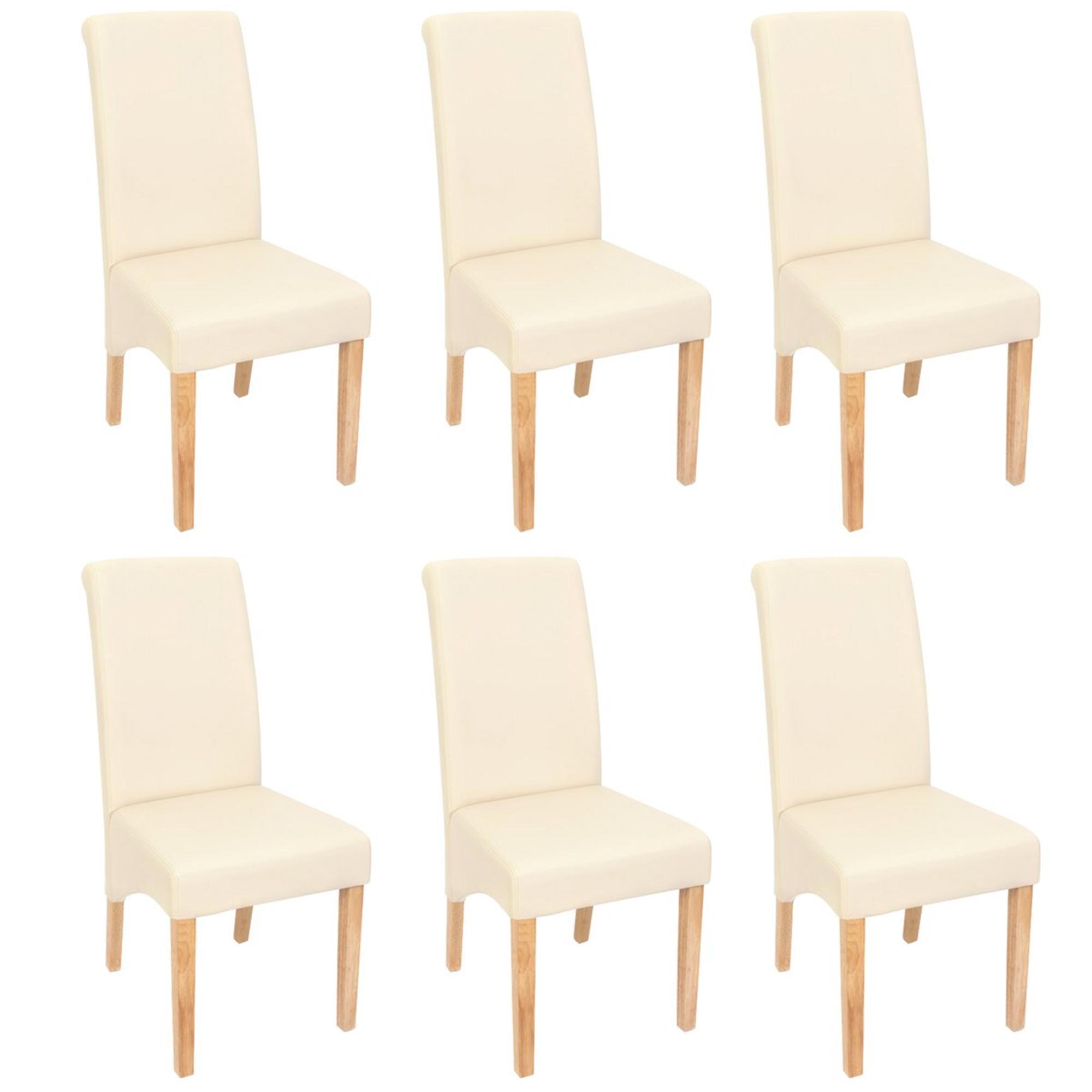 Ote 6 sillas de comedor turin tapizadas en piel crema y for Sillas en piel para comedor