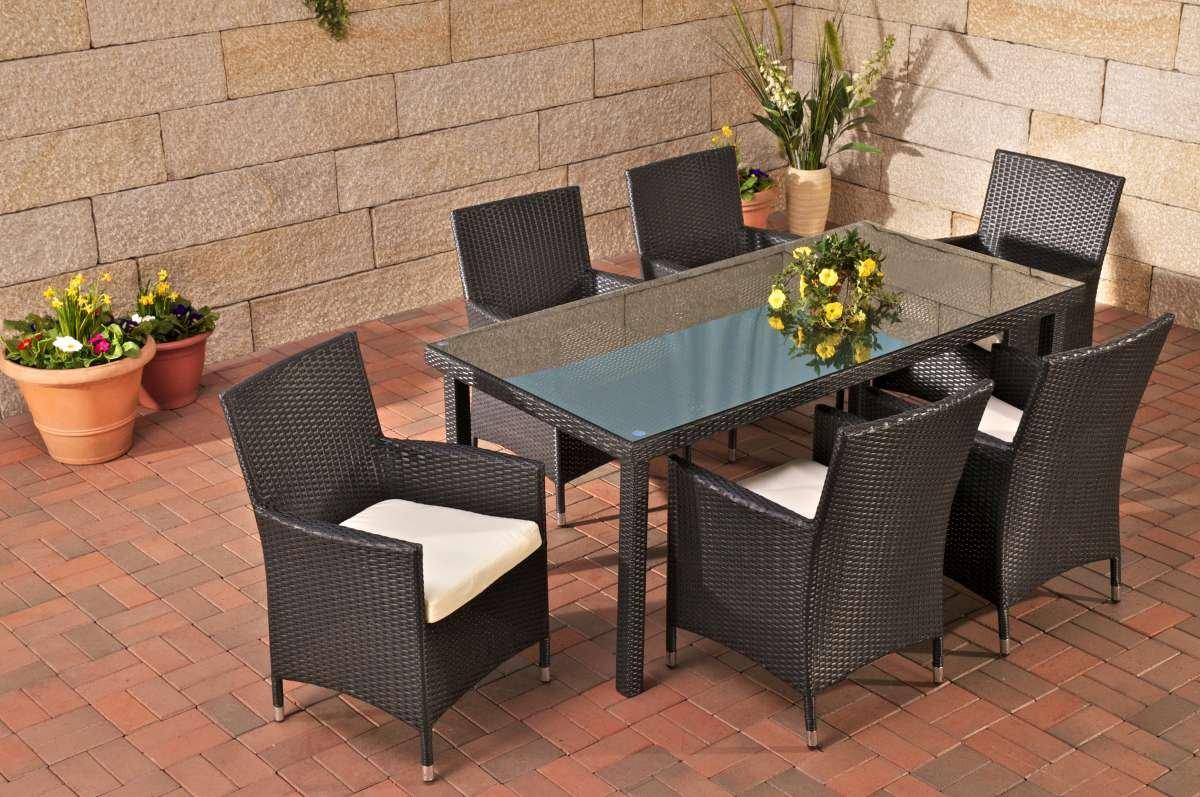 Conjunto de jard n florencia mesa 6 sillas poly rat n - Conjunto muebles jardin ...