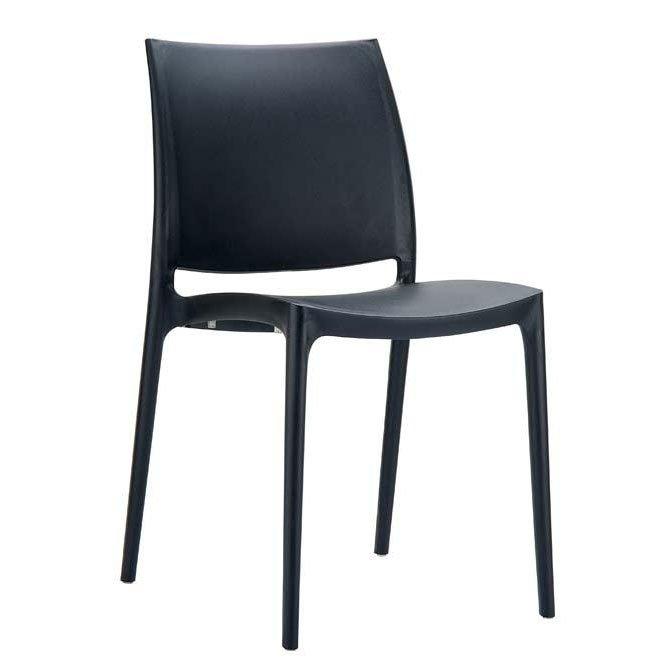 Silla de jard n apilable c44 en pl stico negro silla - Sillas de jardin de plastico ...