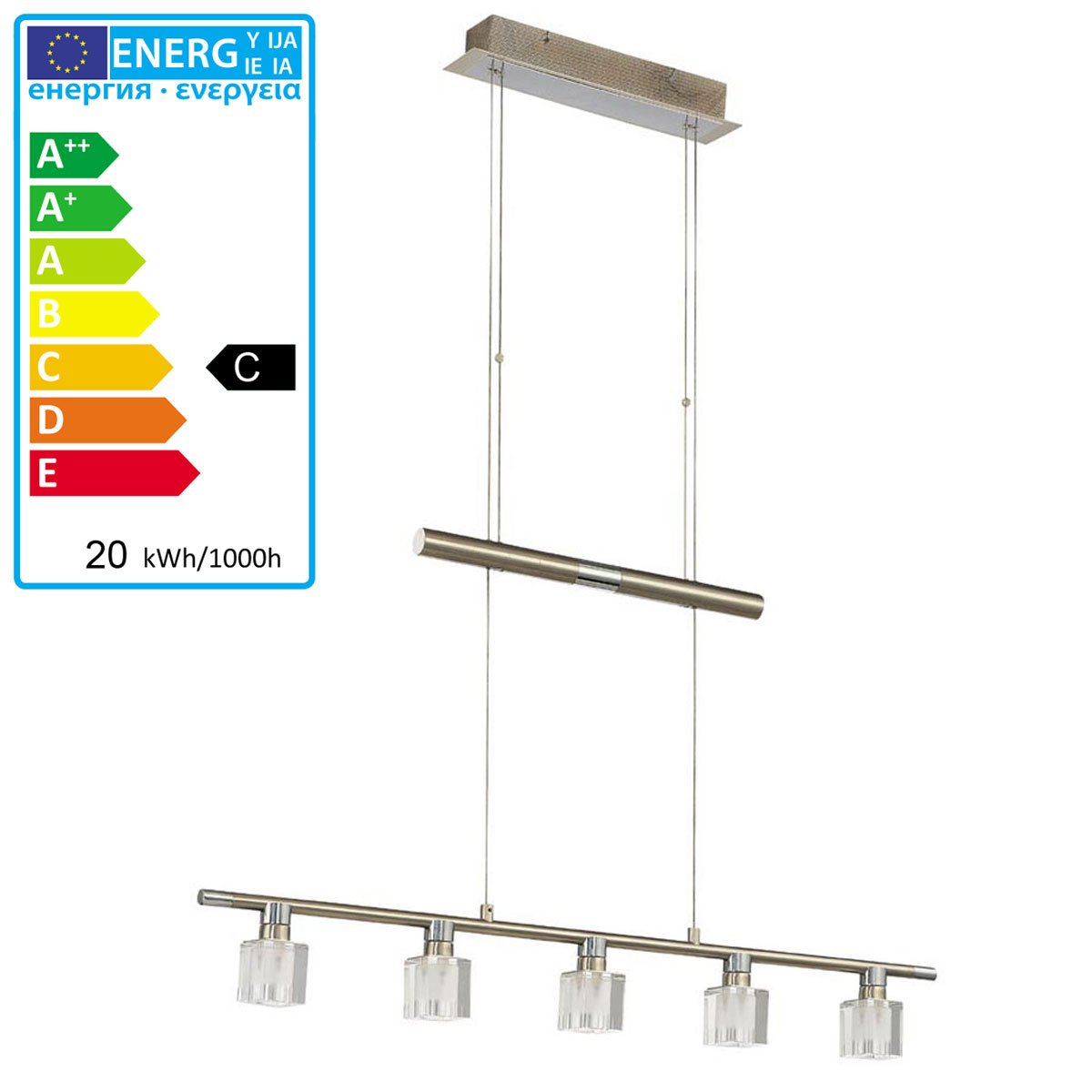 L mpara de techo colgante con 5 apliques luz l mpara de - Apliques para techo ...