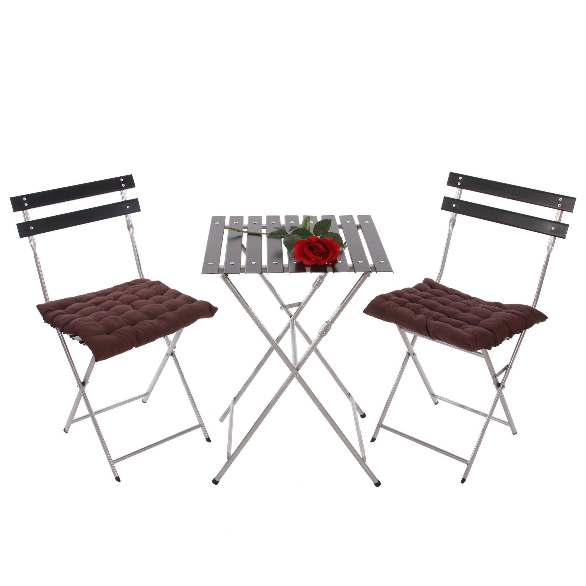 Conjunto de 2 sillas mesa para terraza o jard n en metal for Mesa 3 en 1 con 2 sillas