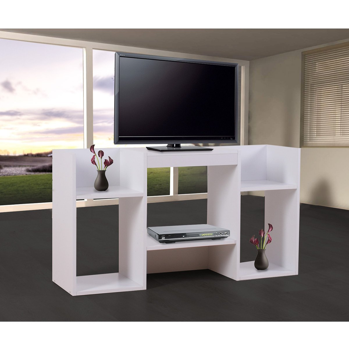 Mueble para tv soporte para tv de dise o 109x59x30 cm blanca for Muebles modernos living para tv