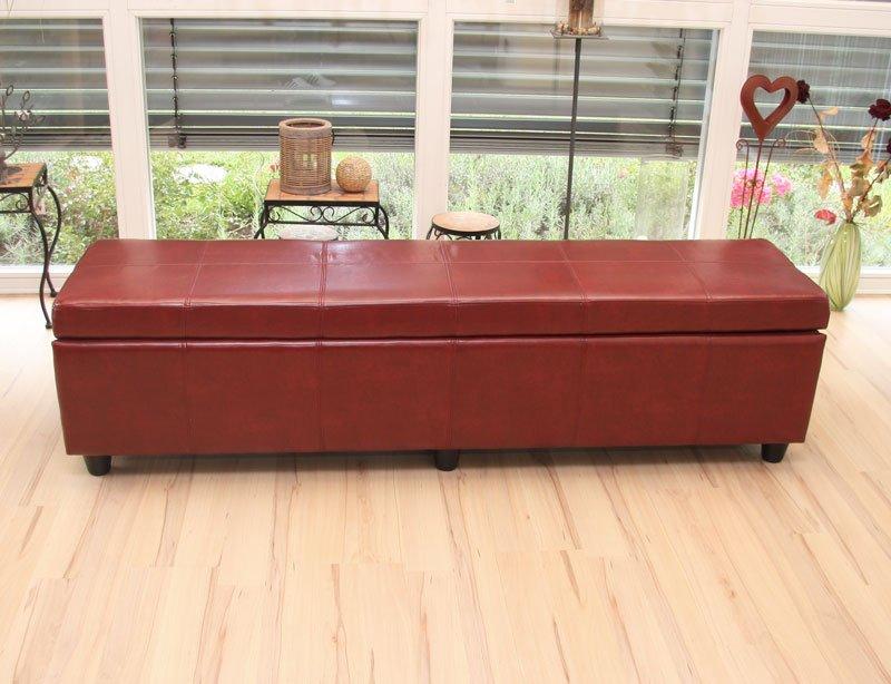 Baúl Banco KRIEN XXL, con cajón interno, 180x45x45cm, En Piel Roja