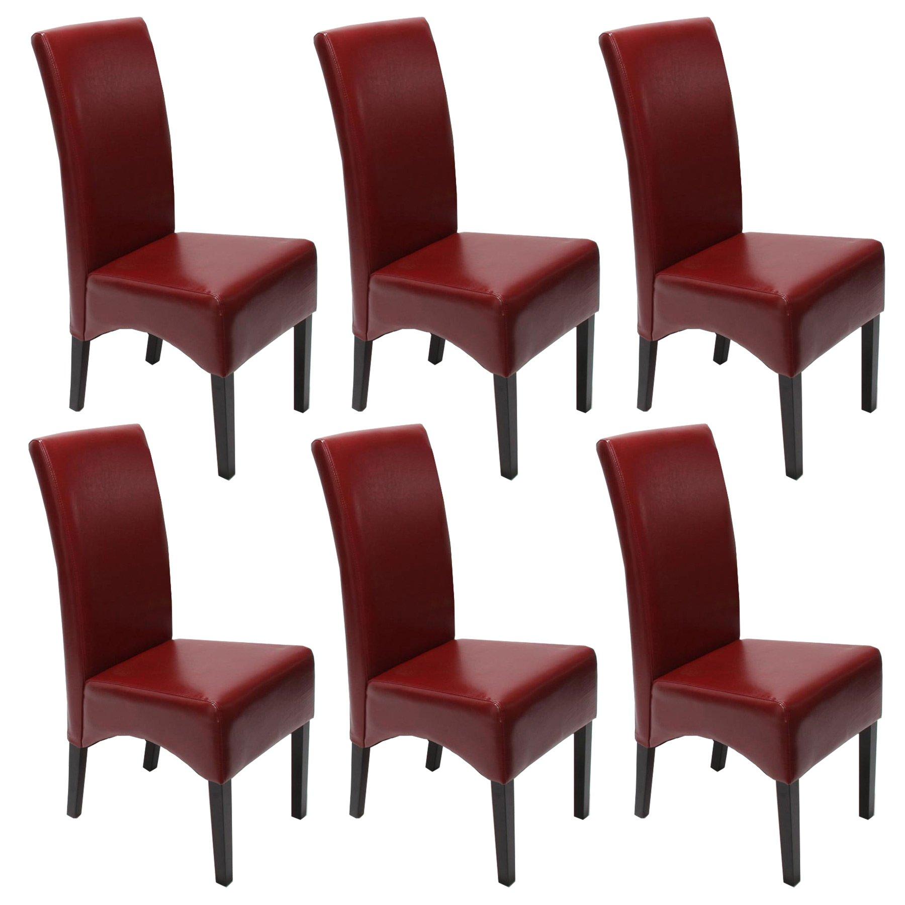 Lote 6 sillas de comedor latina en piel genuina burdeos y for Sillas de piel para comedor