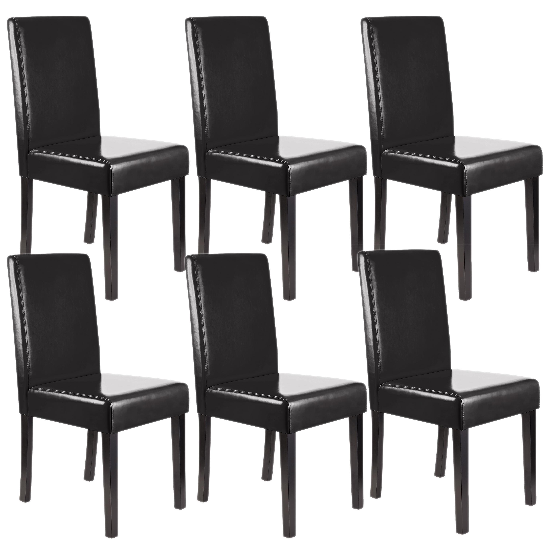 Lote 6 sillas de comedor litau piel natural piel negra y for Sillas de piel para comedor