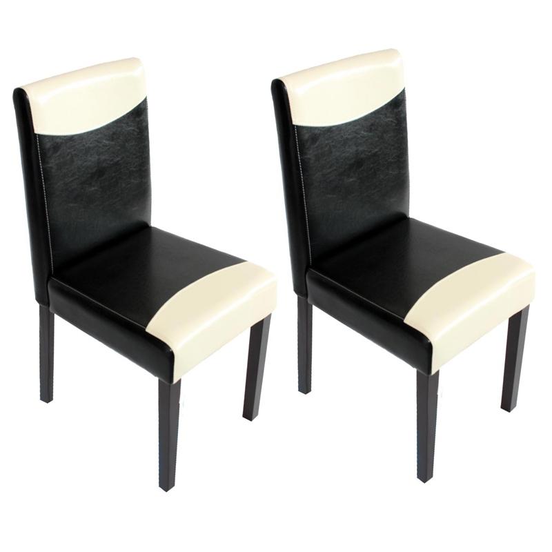 Conjunto 6 sillas de comedor litau en madera y polipiel color crema negro y patas oscuras - Sillas comedor polipiel ...