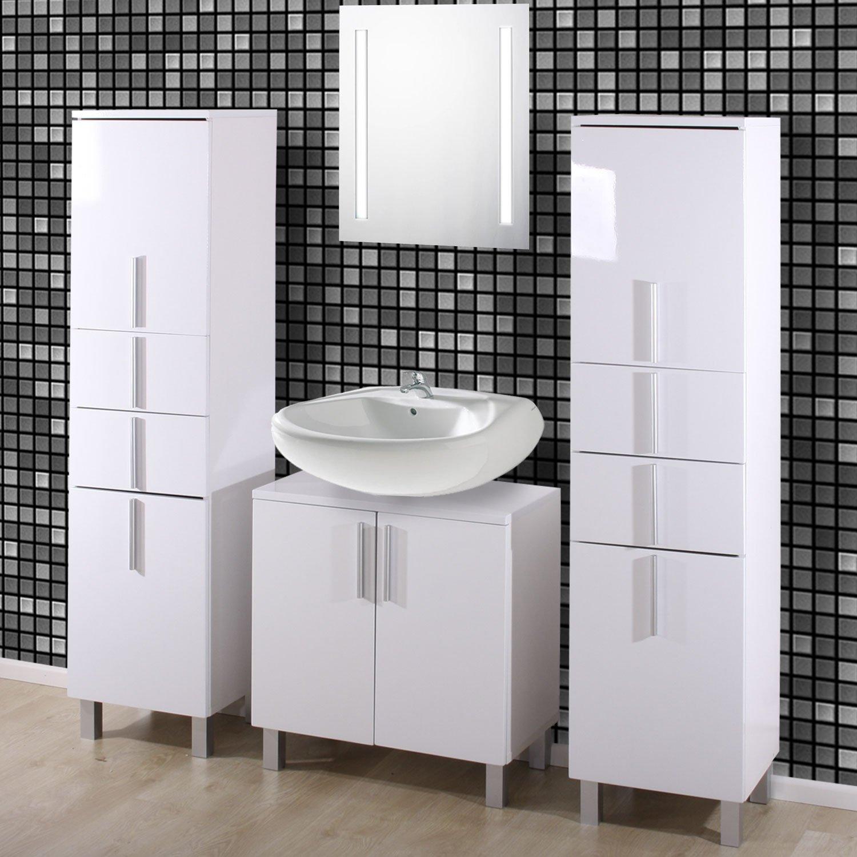 Conjunto 3 muebles de ba o gama nordik 2 altos y uno para for Muebles altos de bano