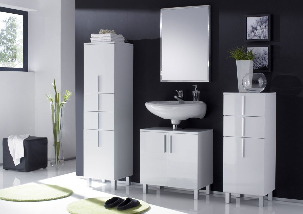 Conjunto de 3 muebles para ba o nordik 2 armarios altos - Muebles altos de bano ...