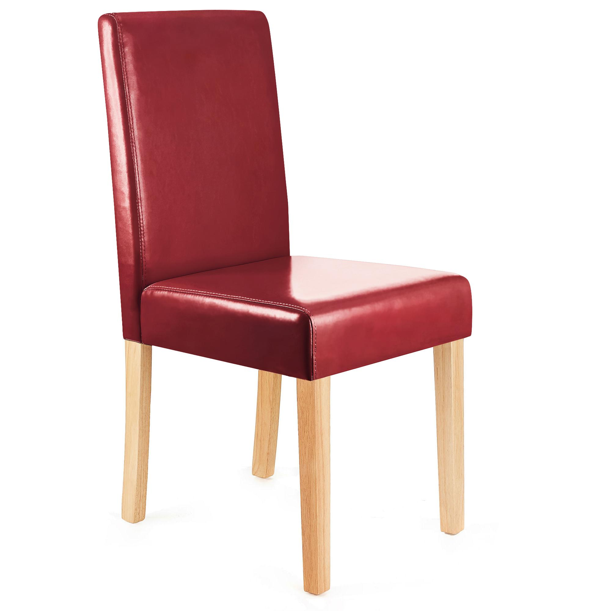 Lote 4 sillas de comedor litau polipiel rojo patas claras - Sillas comedor piel ...