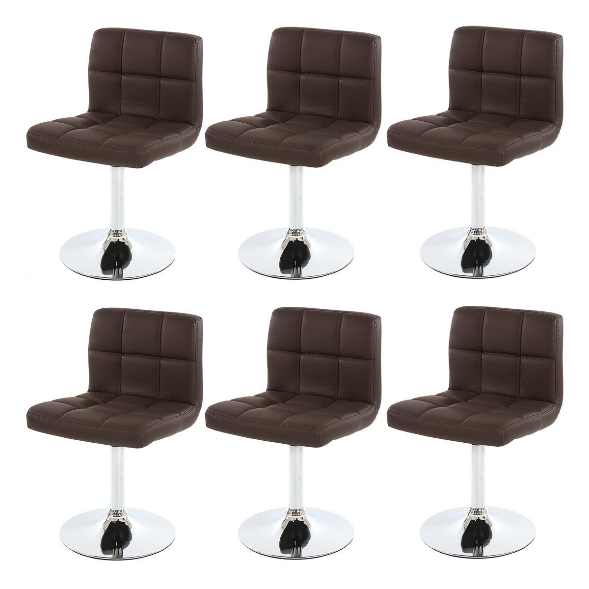 Conjunto de 6 sillas de Cocina GENOVA, Giratorias, Marrones ...