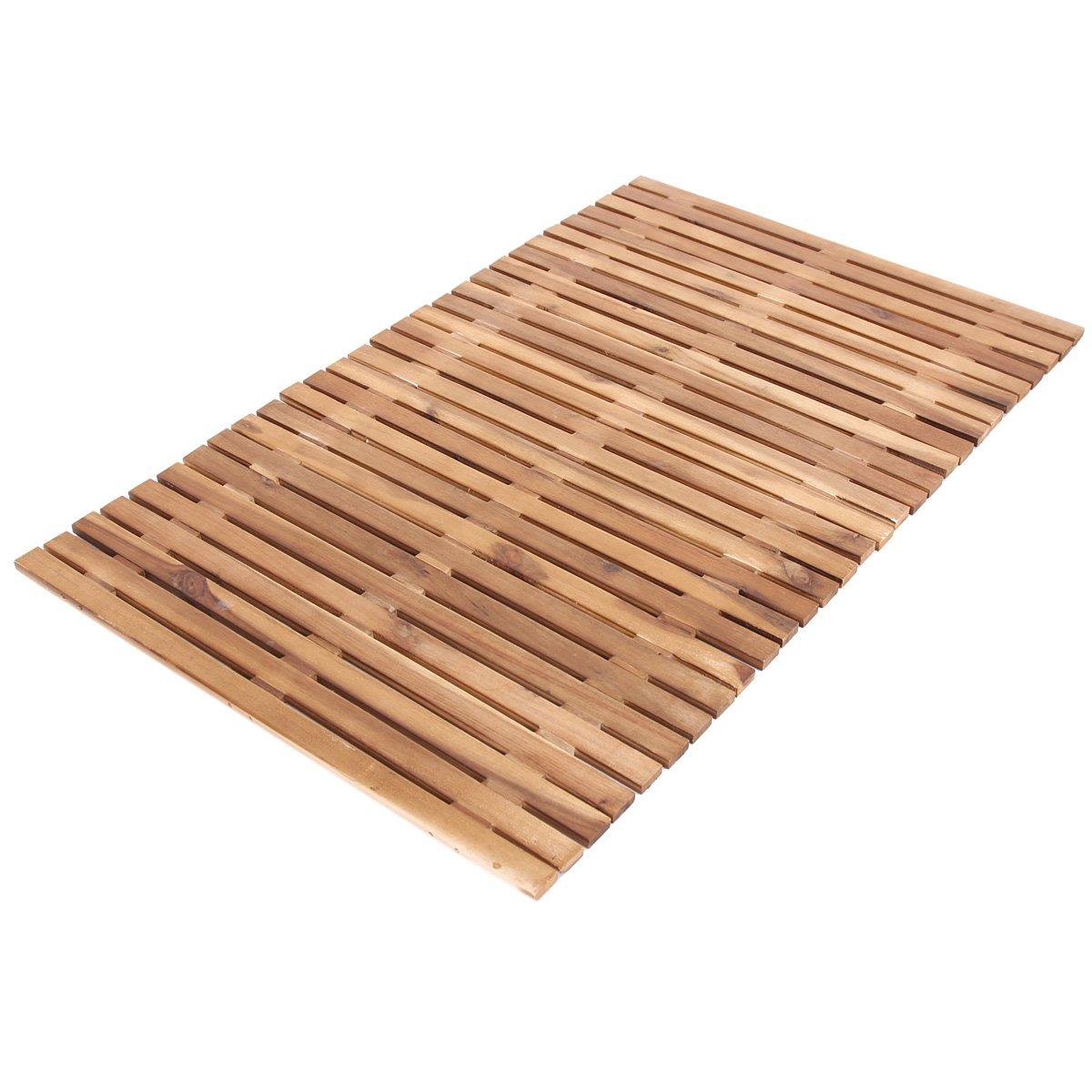 Alfombra de ba o de madera de 80x50cm color marr n oscuro - Alfombras de madera ...