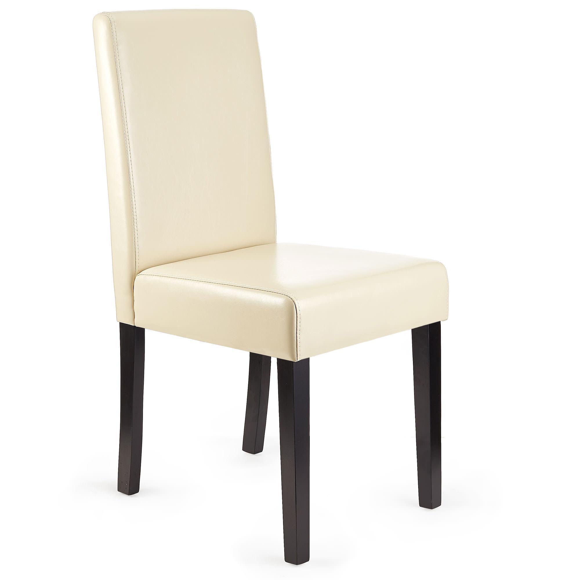 Lote 4 sillas de comedor litau piel real crema patas for Sillas de comedor tapizadas en piel