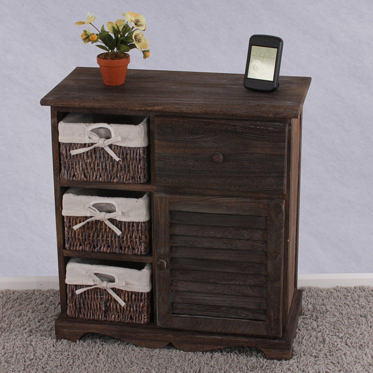 Mueble aparador con 3 cestas 63x60x30cm estilo nico for Muebles con cestas