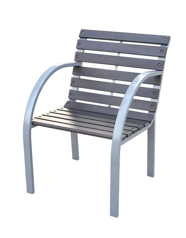 Lote 2 sillas de jard n granada en madera oscura lote de for Sillas de terraza y jardin