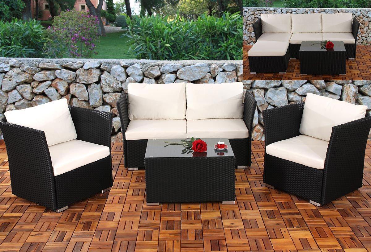 Conjunto de jardin siena sofa 2 sillones mesa modulares estructura negra con cojines en crema - Mesas de sofa ...