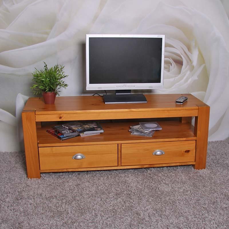 mesa estante para tv lowboard en madera de pino macizo On mesas para tv de madera
