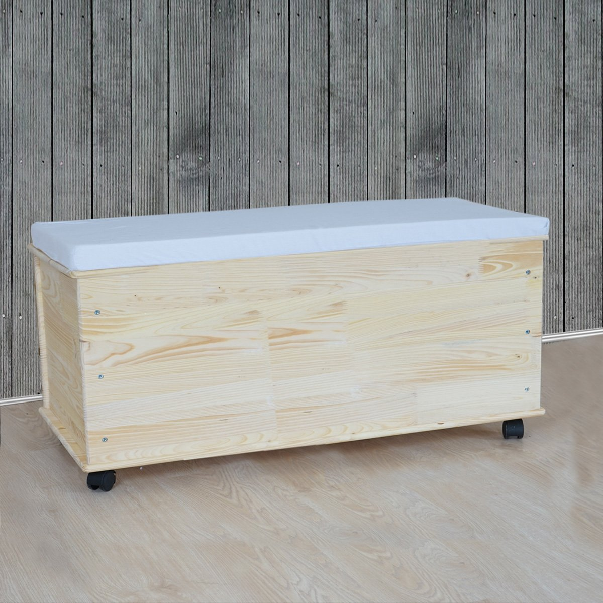 Baúl para almacenaje en madera natural, 91 cm - Cesta o Baul para ...