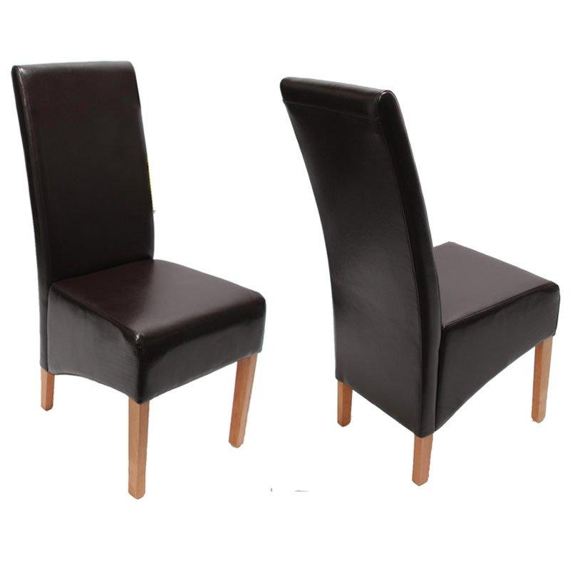 Lote 2 sillas de comedor siena ii en piel marr n lote 2 for Sillas comedor cuero marron