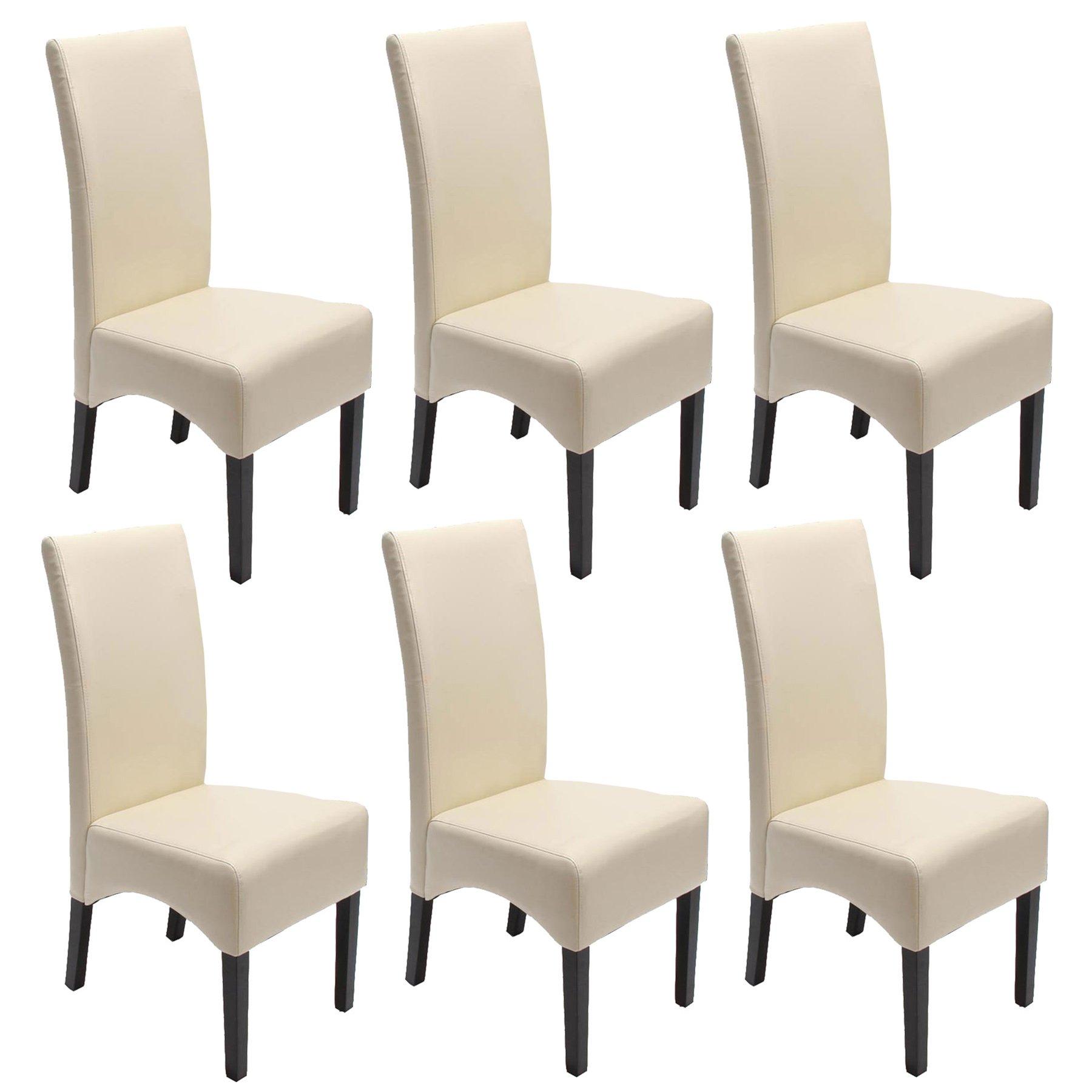 Lote 6 sillas de comedor latina en piel genuina crema y for Sillas en piel para comedor