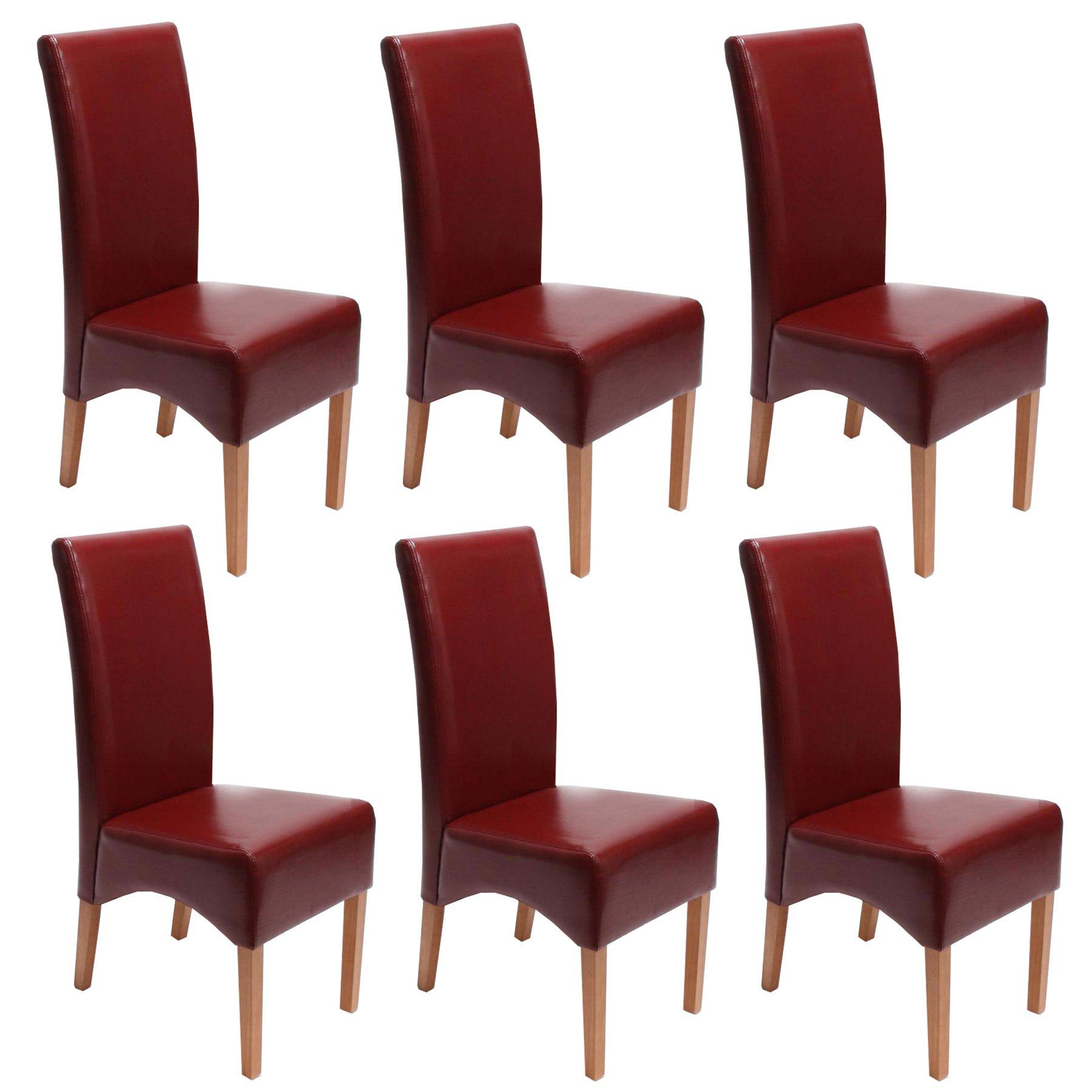 Lote 6 sillas de comedor latina en piel genuina rojo y for Sillas de comedor tapizadas en piel