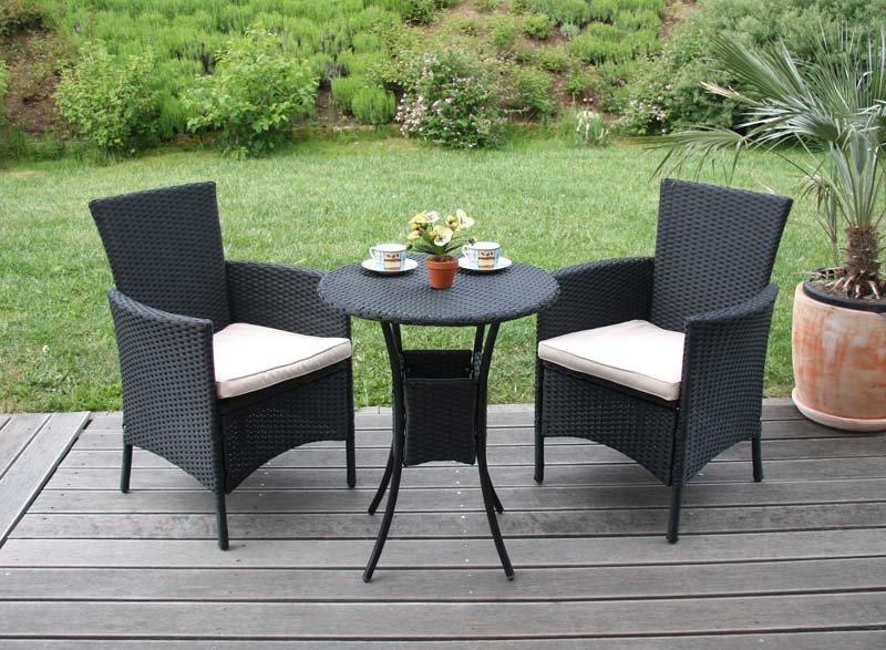Lote 2 sillas de jard n parma poly rat n aluminio negro for Sillas de terraza y jardin