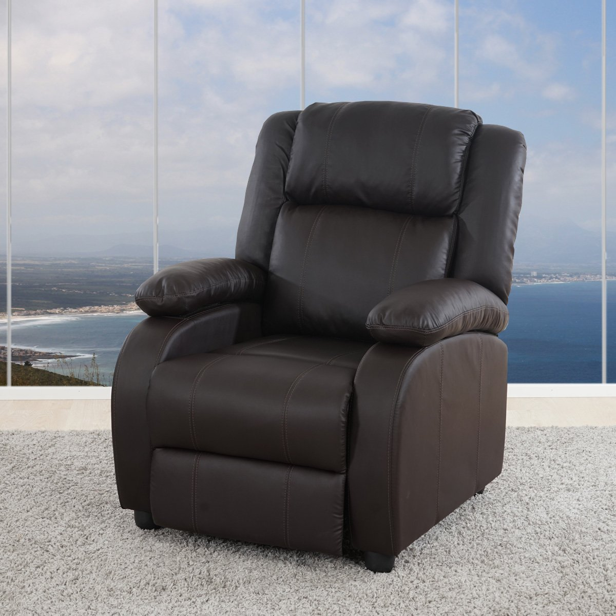 Sill n relax reclinable lincon en color marr n sillon for Sillon reclinable