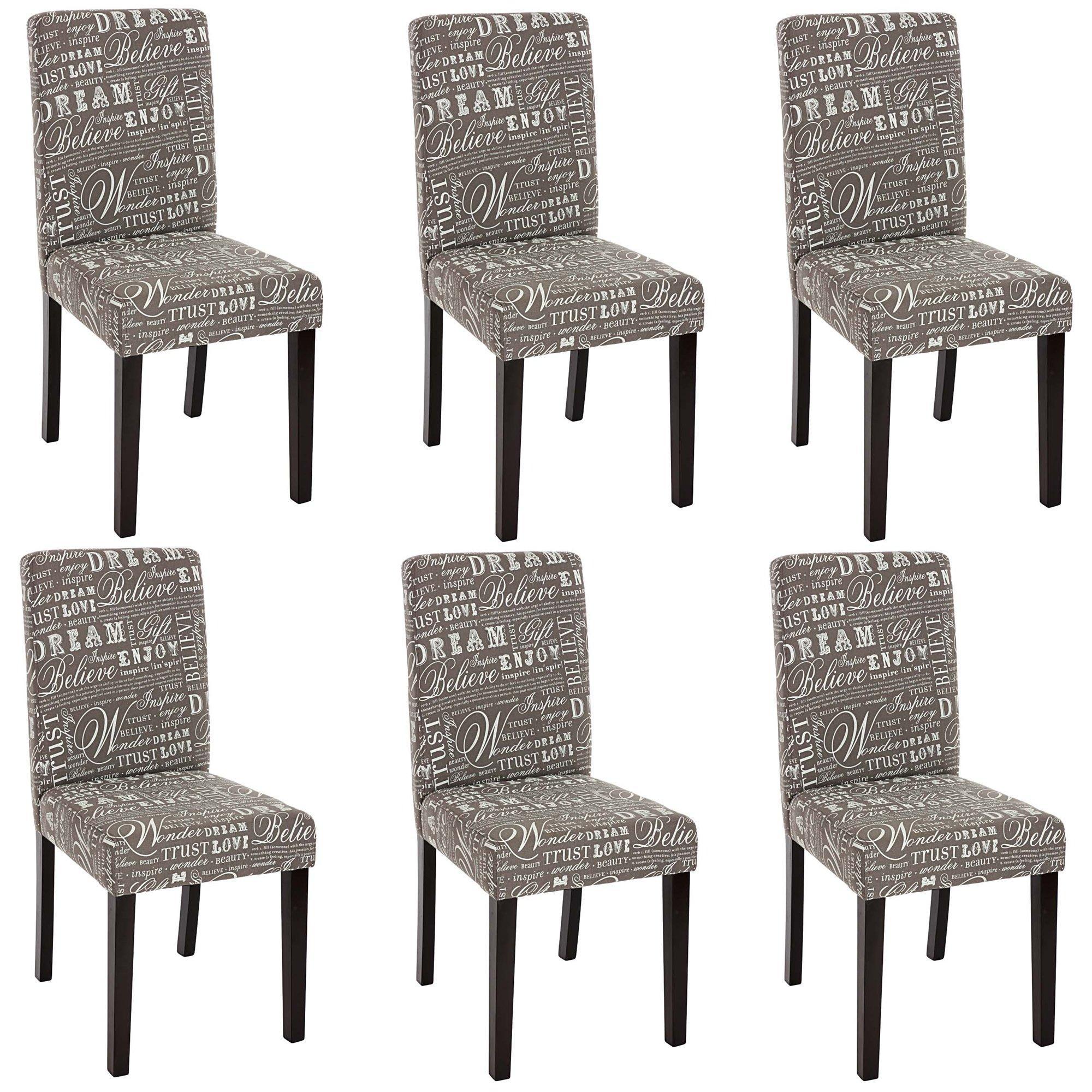 Conjunto 6 sillas dali tela gris y patas oscuras - Tela para sillas de comedor ...