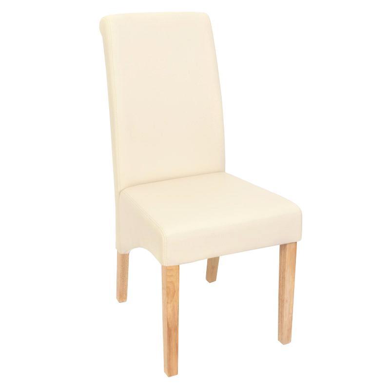 Lote 4 sillas de comedor turin tapizadas en piel crema y for Sillas de comedor de madera tapizadas