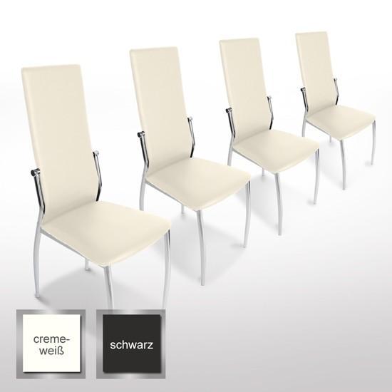 Lote 6 sillas bari en piel crema y patas cromadas demo for Sillas comedor patas cromadas