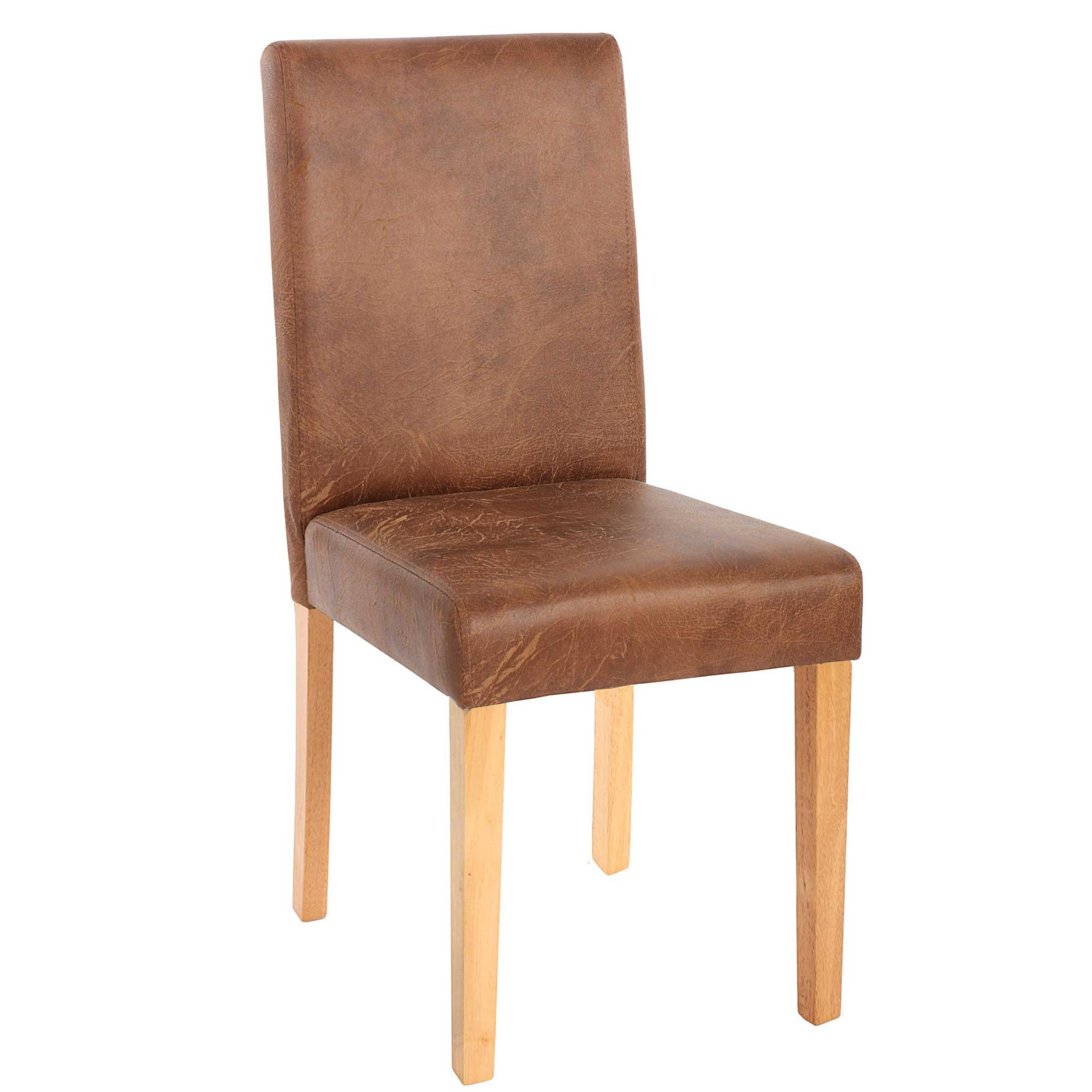 Lote 2 sillas de comedor litau en piel marr n natural for Sillas comedor cuero marron