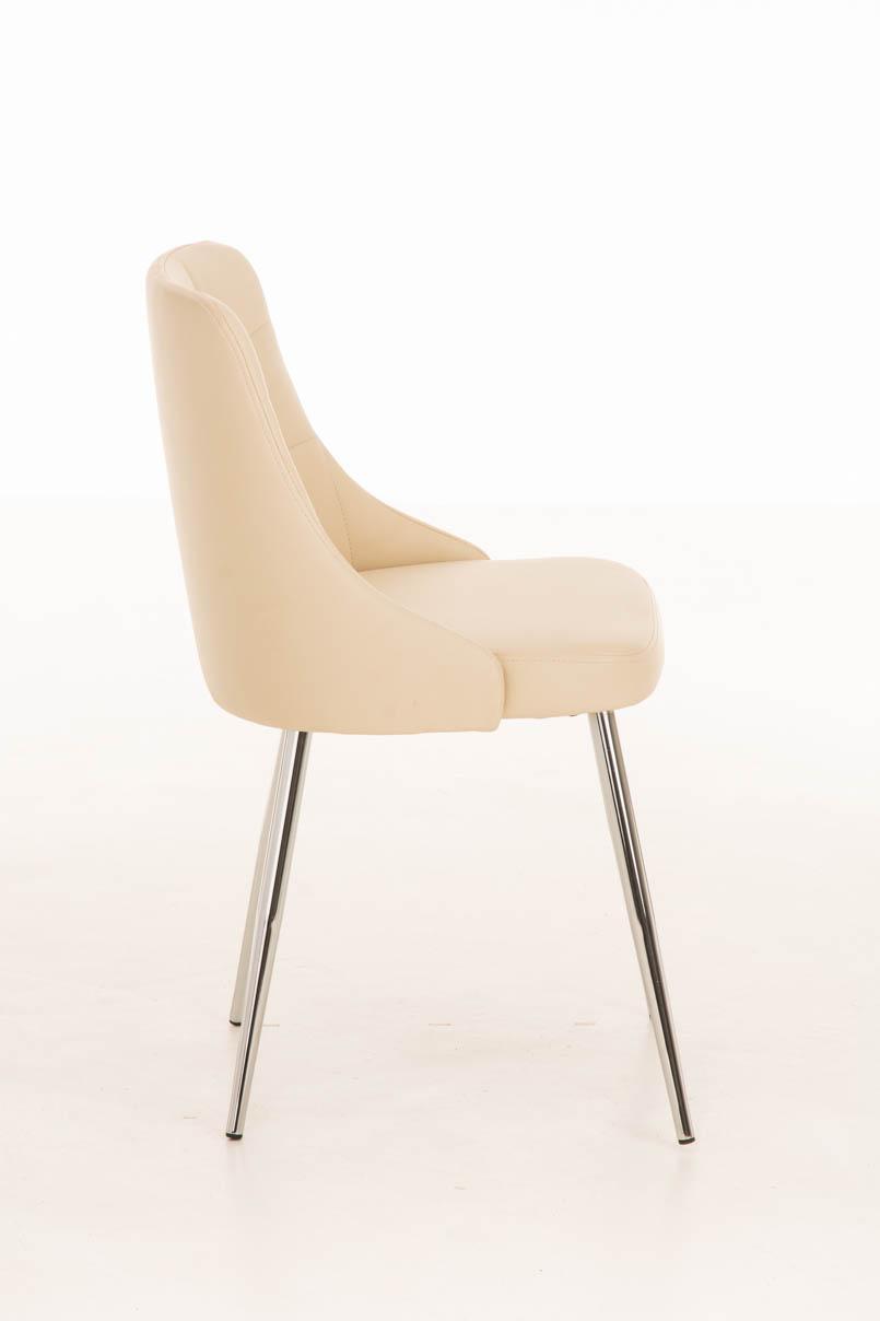 Lote 4 sillas de comedor o cocina harrison en piel crema for Sillas metalicas para comedor
