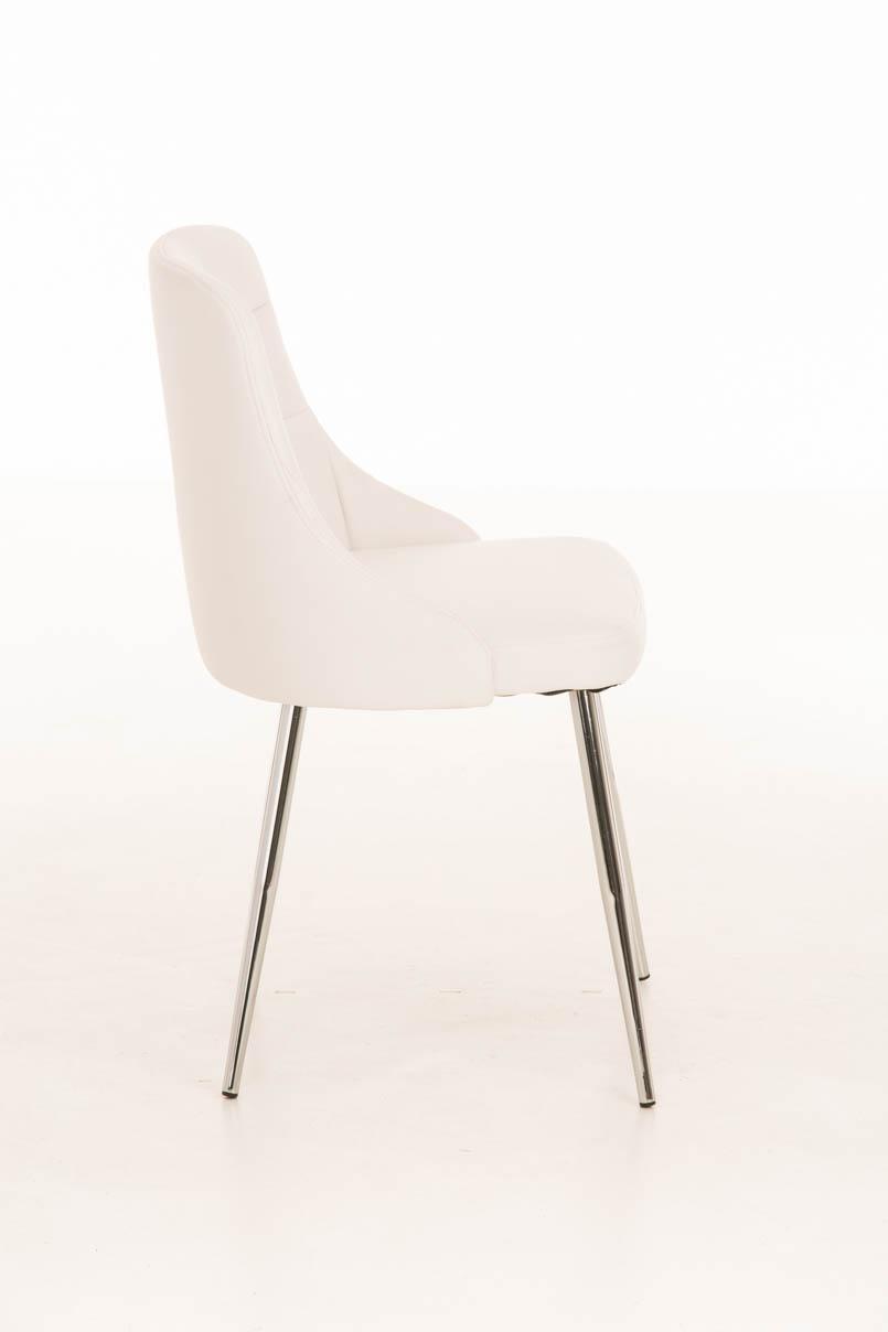 Lote 6 sillas de comedor o cocina harrison en piel blanca for Sillas metalicas para cocina