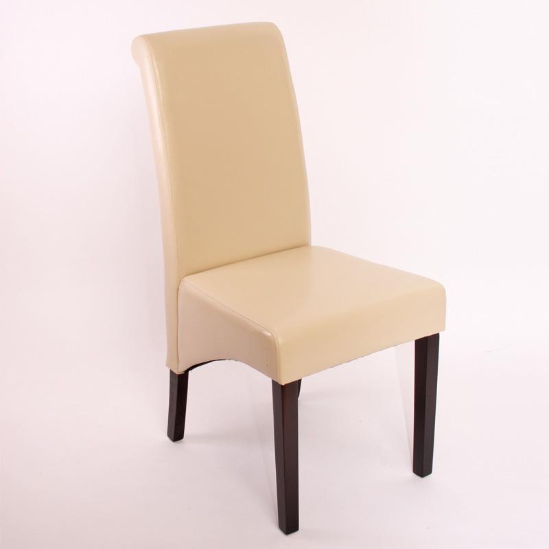 Lote de 4 sillas de comedor turin en piel crema y patas for Sillas de estilo tapizadas