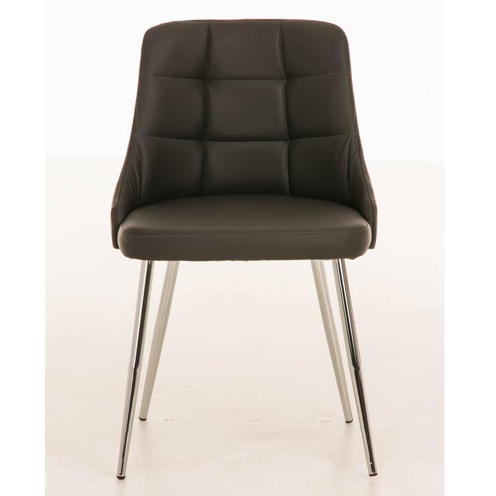 Silla de comedor o cocina harrison en piel gris silla for Sillas metalicas para cocina