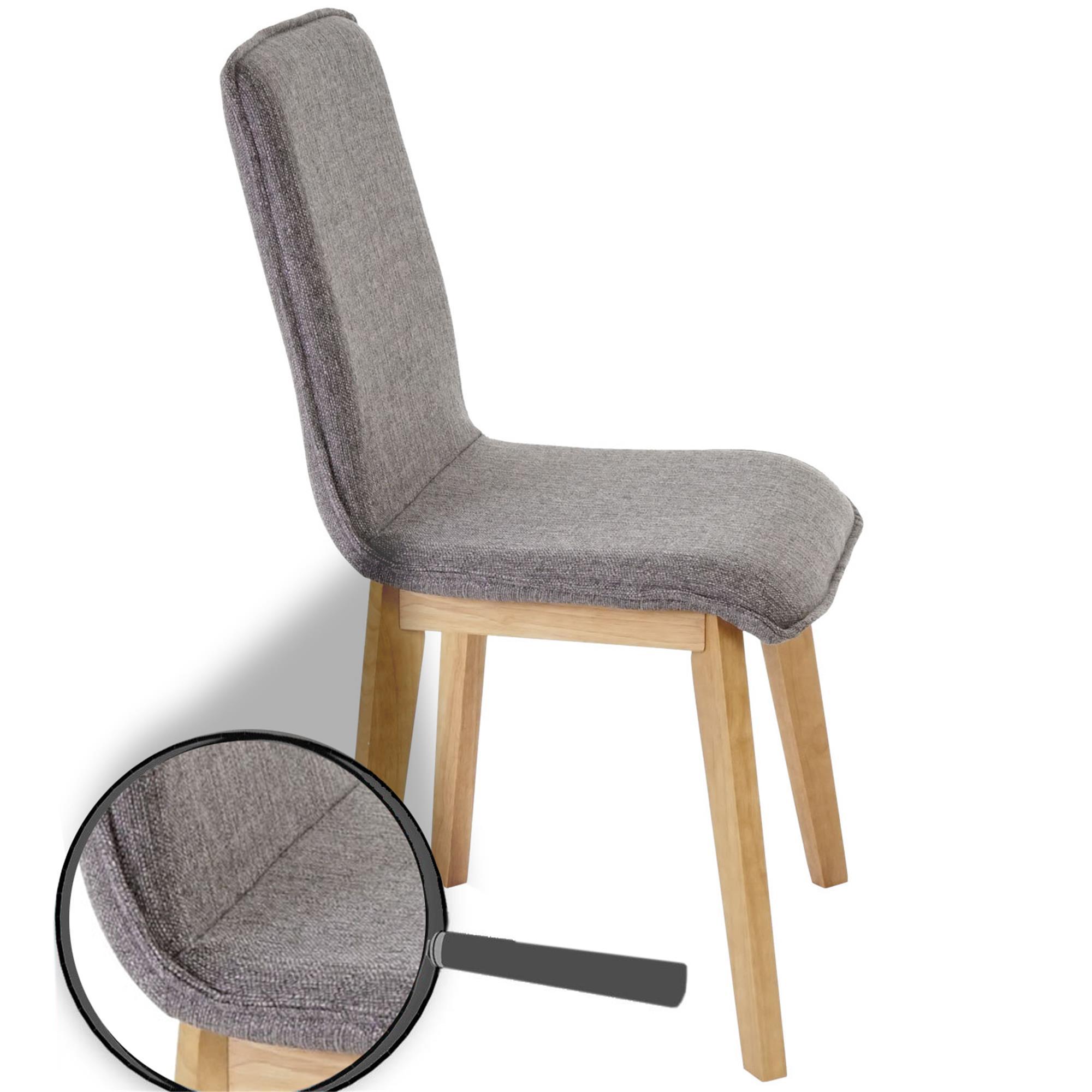 Lote 6 sillas de cocina o comedor ford en tela gris for Comedor de madera 6 sillas