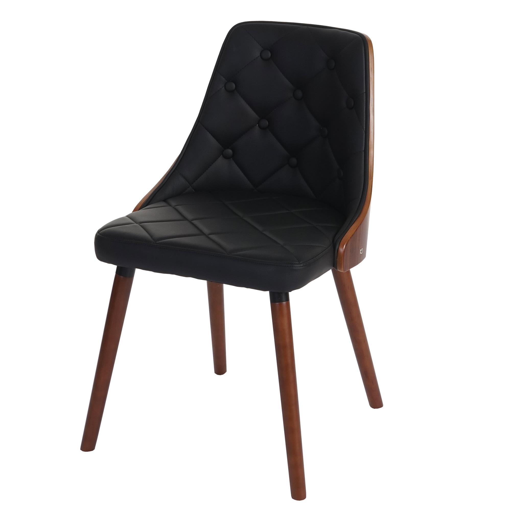 Lote 6 sillas de comedor baley en piel negra conjunto 6 for Comedor de madera 6 sillas