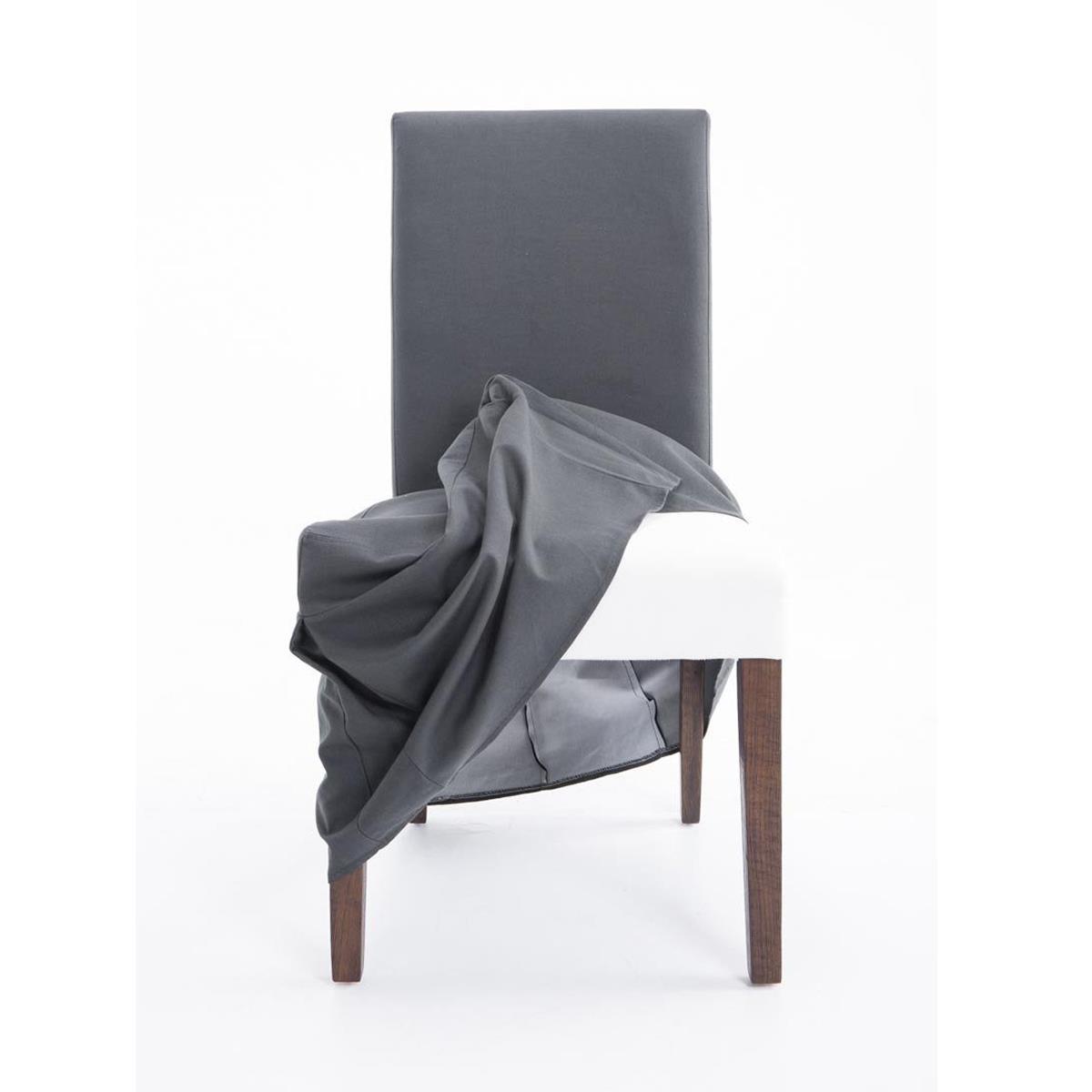 Silla de comedor caspio en tela color gris oscuro con for Sillas comedor color gris