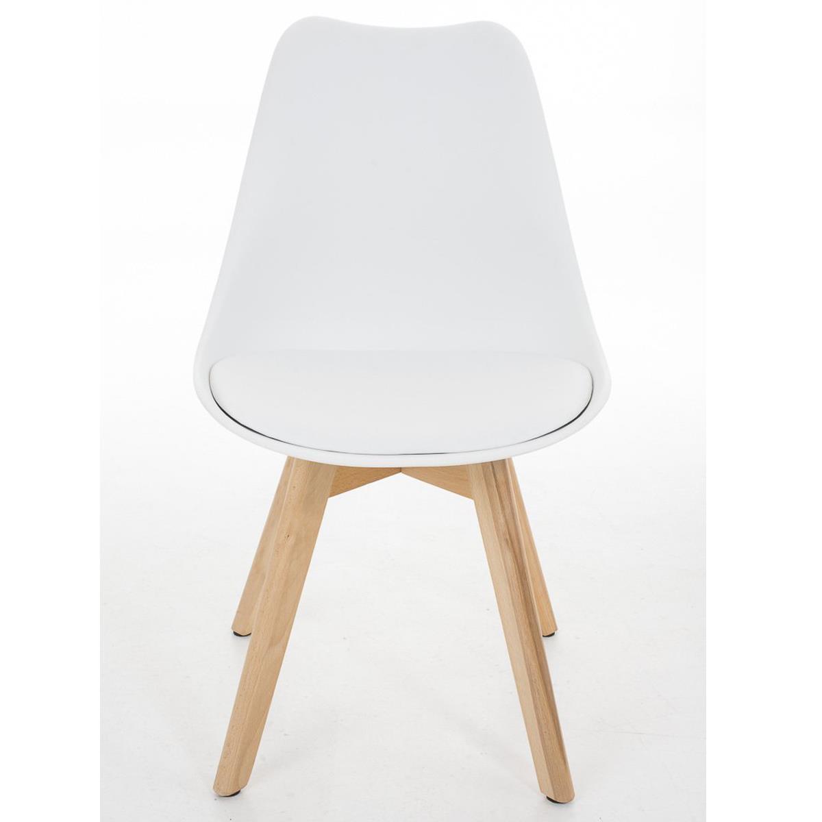 Conjunto de 4 sillas de comedor loren color blanco y for Sillas de piel blancas