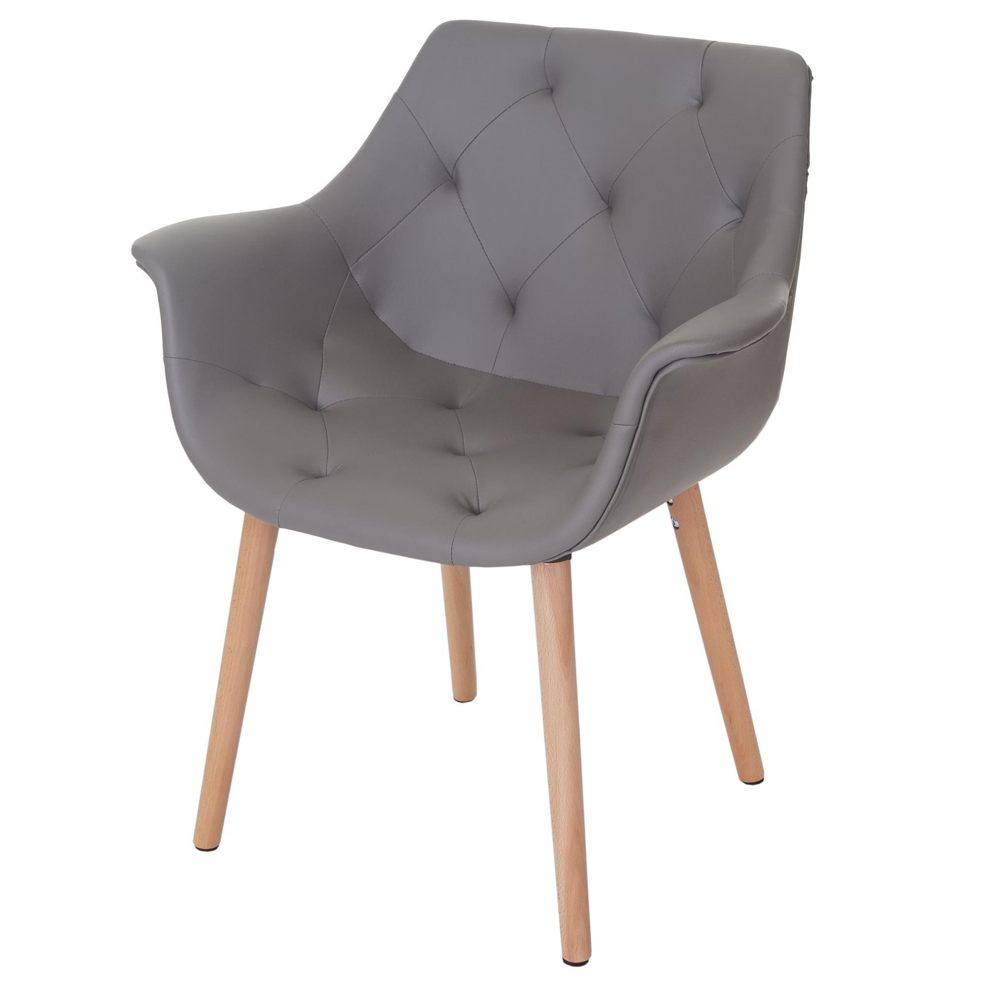 Lote 4 sillas de comedor alber estilo retro en piel gris for Sillas de comedor de cuero