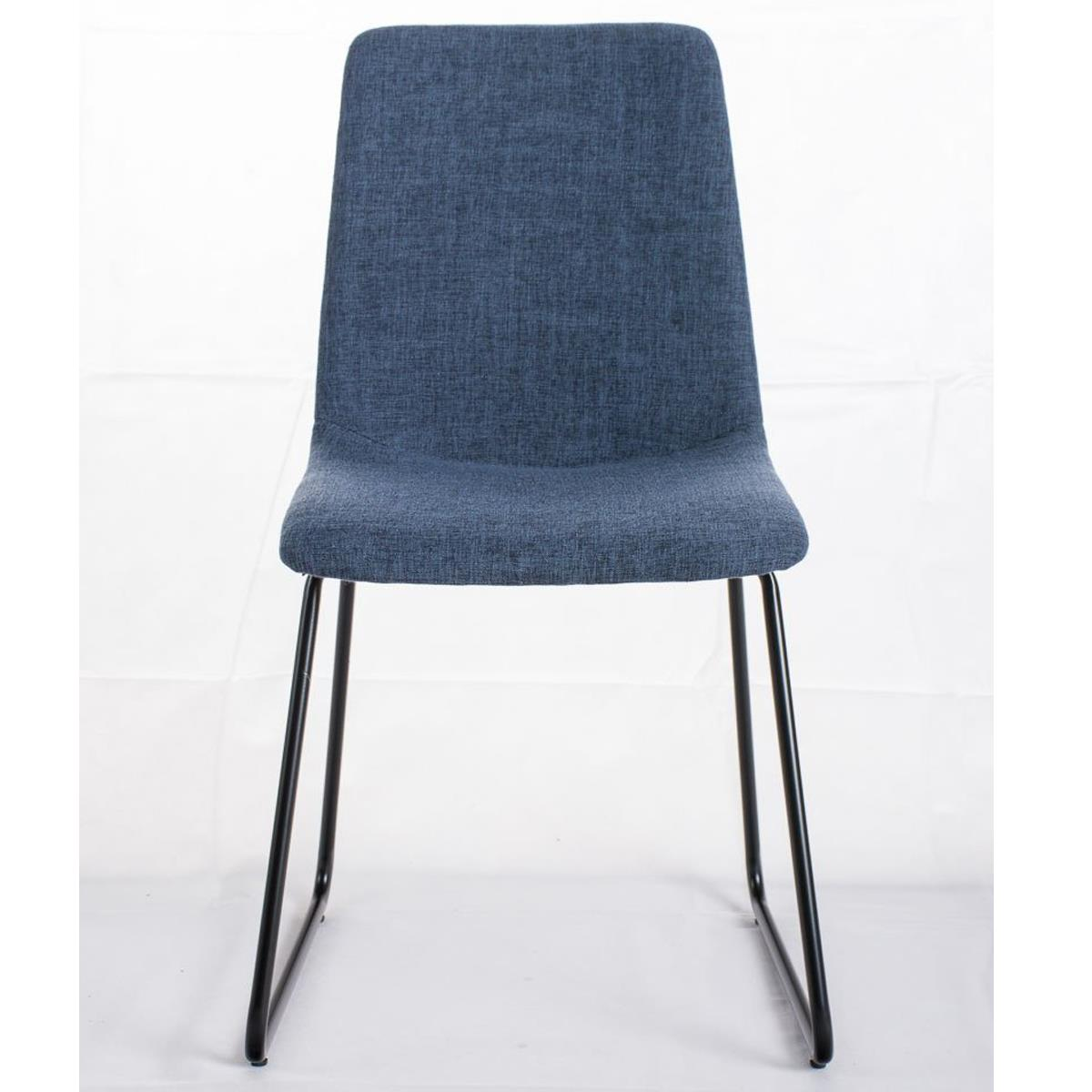 Conjunto de 4 sillas de comedor marina color azul y patas for Sillas comedor patas metalicas