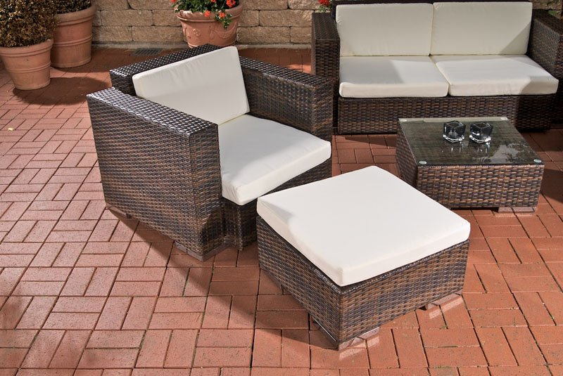 Conjunto de jardín: sofá 2 plazas + 2 sillones, gris - Conjunto ...