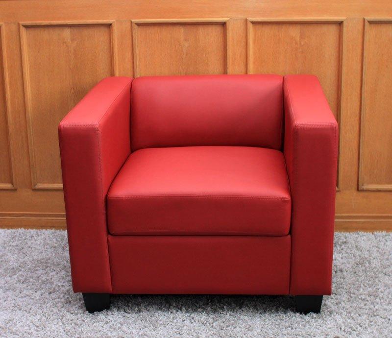Sofa individual lille en polipiel color rojo sofa for Sofas individuales comodos