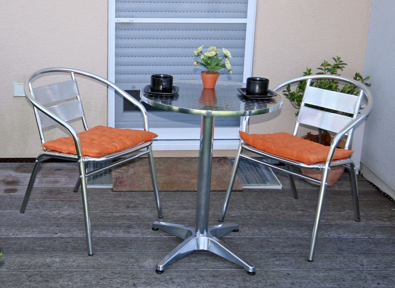 Conjunto de jard n apilable mesa 2 sillas en aluminio for Muebles de aluminio para jardin