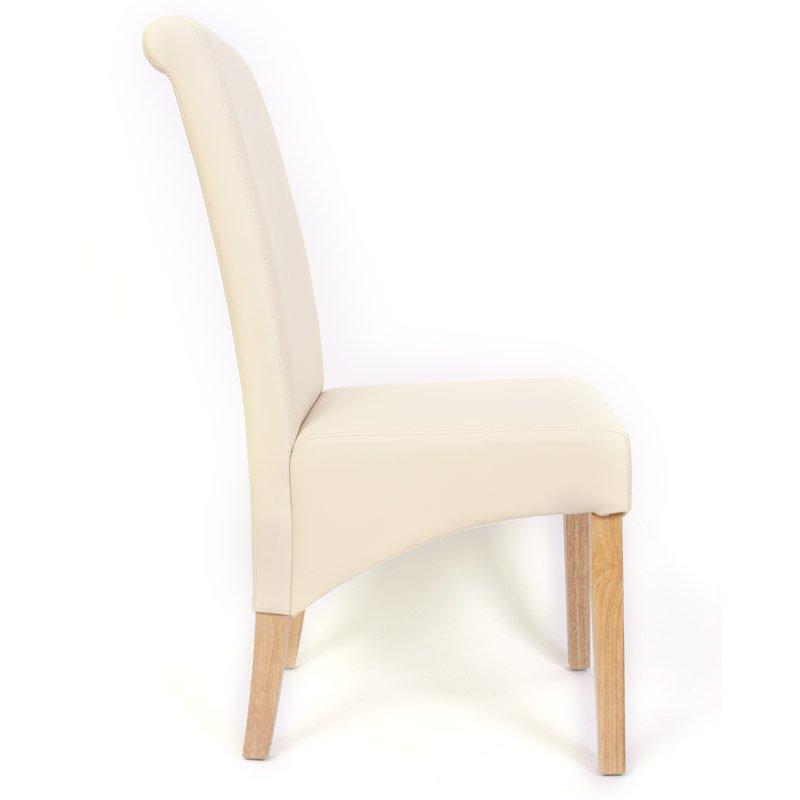 Ote 6 sillas de comedor turin tapizadas en piel crema y for Sillas de comedor de madera tapizadas