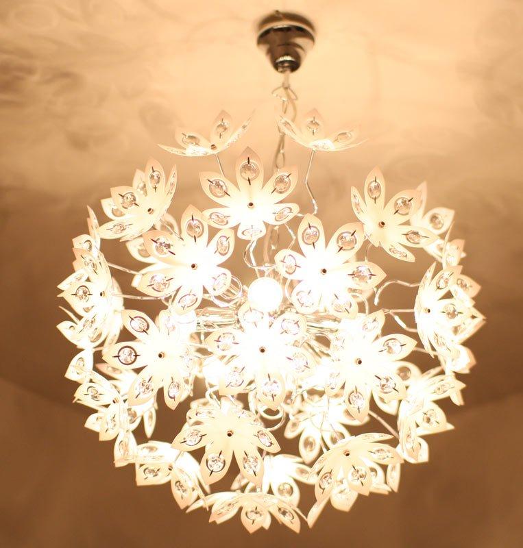 Lámpara BlancoDiámetro 150cm ColganteCromadaFlores 50cmDiemensiones En Techo De Acrílico wZkXiTOPul