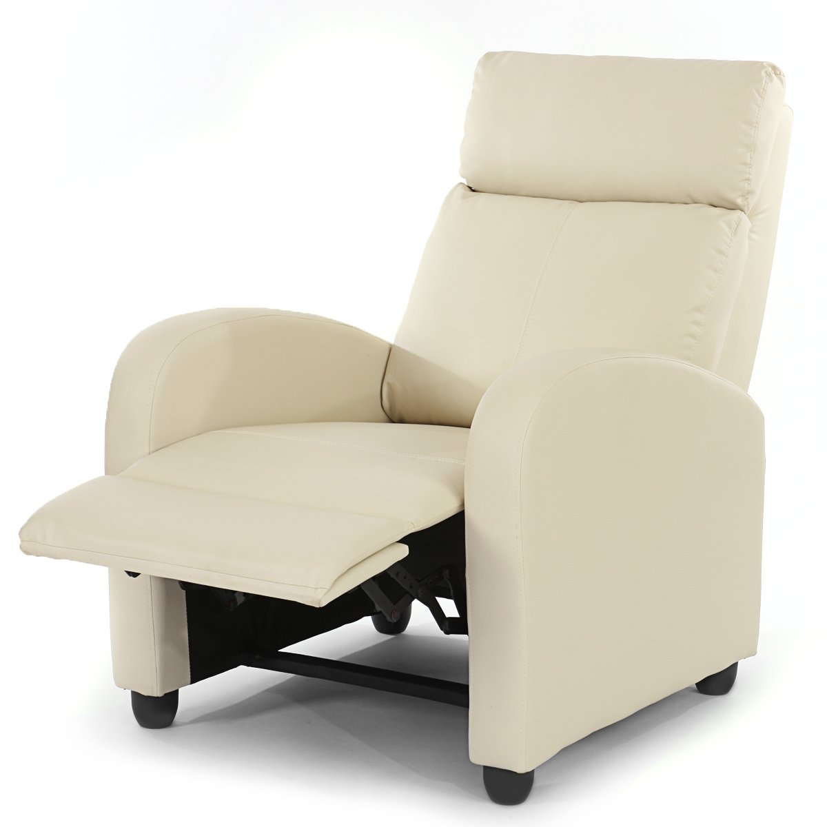 Sill n relax reclinable denver en piel color crema for Sillon reclinable