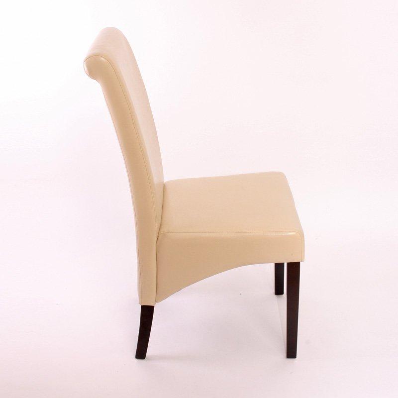 Lote de 6 sillas de comedor turin en piel crema y patas for Sillas de estilo tapizadas